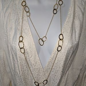 """Gold tone double strand necklace-34"""""""